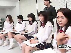 Subtiitritega CFNM Jaapani schoolgirls nude art klass