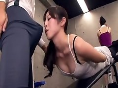 Chinese teacher acquires erection at the gym