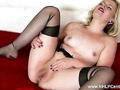 Naughty blonde Anna Belle masturbates in retro garter and sheer ebony nylons