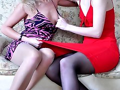 Two hot-tempered babes in sheer-to-waist hose reconcile after wet lez 69ing