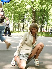 Raunchy teenage hottie goes for a nude walk
