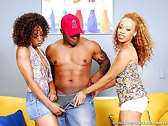 lucky guy gets two black babes for a mid-day treat