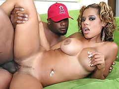 Big boobed ebony girl with pigtails getting creamed but good