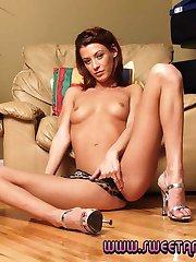 Raunchy tanned pornstar babe Stella doing a big dick stud