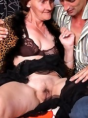 Horny old plumper Stephanie sizes up a cock with her mouth and gets cock pumping in her cooter
