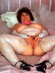 fat brunette mama in sexy white lingerie