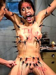 Skimpily dressed Halloween party goer Lyla Storm is the perfect bait for predator Felony!  Snatched off of the street and dragged into a secret layer, Felony torments and humiliates her prey.  Water and breath play, predicament bondage, sybian torture, ass worship, pussy licking, fisting, squirting, and anal strap-on all turn an unsuspecting girl into a filthy fucking whore!