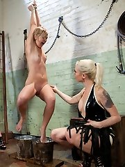 Chloe Camilla gets double teamed by hot blonde doms Lorelei Lee and Lily LaBeau with bondage. Electricity, and water!