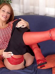 Lovely red stockings and heels