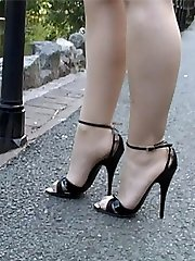 Kylie is seen here doing what she loves doing best! That is stimulating your ladies boot fetish dressed in a lovely tempting shoe with a sumptuous 5 inch heel and very thin straps