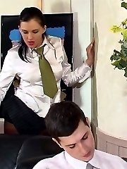 Female co-worker and filthy guy having pantyhose cock-break right at work