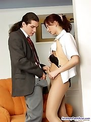 Voluptuous secretary having mind-blowing pantyhose sex right in the office