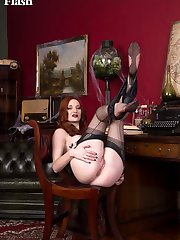 This white witch will enchant you with her black satin, sheer nylons and kinky boots!
