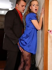 Dolled-up office girl in lush floral pattern hose gets impaled on a boner