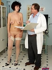 Radima visits naughty polyclinic to have her mature pussy examined