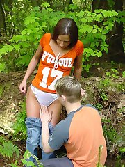 Naughty couple getting busy outside in the public