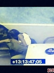 Caught on CCTV enjoying a hot lunchroom sex