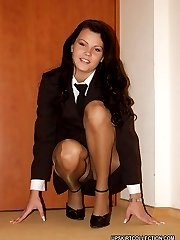 Lewd babes' upskirt view looks great when they wear nylons