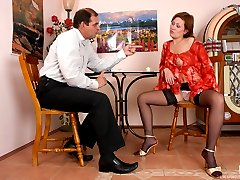 Upskirt teaser unbuttons her blouse making oldie give her coffee with cream