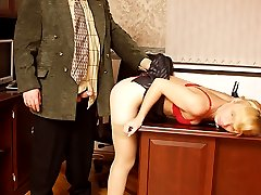 Old fat boss drills his sexy blonde secretary on his table