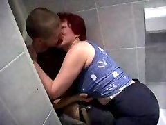 Mom and Son's friend having sex in toilet