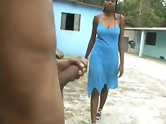 Busty Ebony Hard Blowjob in the backyard