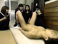 Four Japanese Schoolgirls Playing With A 10-pounder