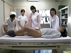 Lascivious Oriental nurses take turns riding patient