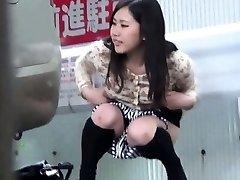 Asian hos snooped on pissing
