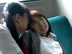 Asian Student Has Fun with Teacher on Bus