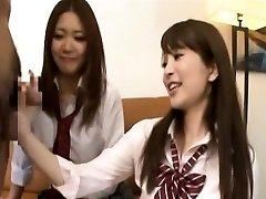 Subtitled CFNM Japanese schoolgirls tagteam fellatio
