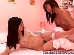 Japanese les nubile schoolgirls share vibrator
