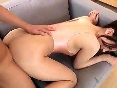 Tearing female stockings leotard