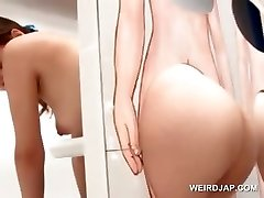 Uber-sexy asian redhead gets pussy licked on gloryhole