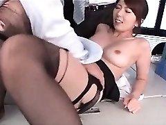 Jap hot school teacher boob deep throated and cunt kittled at work