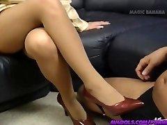 Yuuko Imai kneads cock with feet in footwear