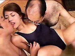 Beautiful young babe has two ultra-kinky old guys enjoying her lo
