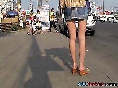 Asian upskirt voyeur action