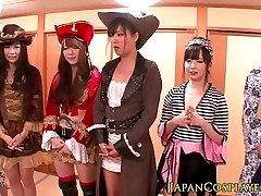 Japanese cosplay babes squirt in bang-out