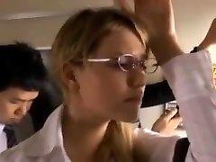 Mia caressed on the bus