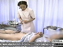 Subtitled medical CFNM hand job cumshot with Japan nurse