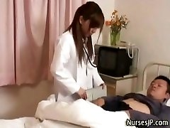 Horny chinese nurse stunner teases