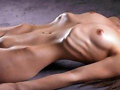 Skinny girl demonstrates her ribs