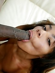 This cute little cheerleader loves to lick cock and balls like