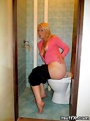 Beautiful and gorgeous blonde babe Lilith S. is enjoying in her bathroom where she gladly shows and expose her big butt. She is ready for your stiff boner!