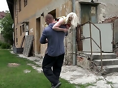 Petite blondie Lovita Fate is tied up and fucked by aggressive stranger