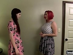 Chubby redhead chick wears strap-on to fuck tranny Chelsea Poe