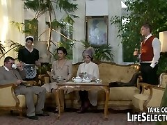Vintage looking brunette maid serves her landlord with oral pleasure