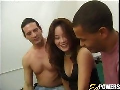 Sexy Asian babe has her first-ever interracial threesome sex