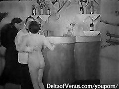 Antique Pornography 1930s - FFM Threesome - Nudist Bar